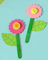 Ice Cream Sticks Craft Ideas For Kids Two Flowers Made From Pink Felt Yellow Buttons And Green