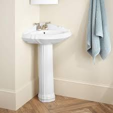 Half Bathroom Ideas With Pedestal Sink by Regent Corner Porcelain Pedestal Sink Bathroom
