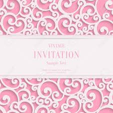 Vector Swirl Pink 3d Valentines Or Wedding Invitation Cards Background With Curl Damask Pattern Stock