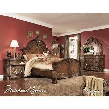 AICO 5pc Windsor Court Queen Size Bedroom Set in Vintage Fruitwood