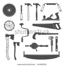 Set Of Monochrome Vector Carpentry Woodworkers Sawmill And Lumberjack Hand Tools Design Elements