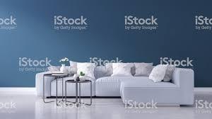 moderne wohnzimmer interior design blaue wand und woodfloor frühjahrsommerhauskonzept 3drendering stockfoto und mehr bilder architektur