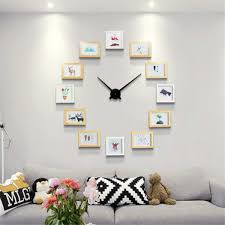 2019 New DIY Wall Clock Modern Design DIY Photo Frame Clock Art Pictures Unique Klok Home Decor 12 Photo Frames Nordic