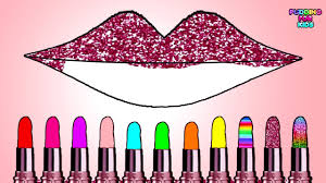 Learn Colors With Cute Lipstick Color Gritter And Lips Coloring Page Art Design Game For Kids