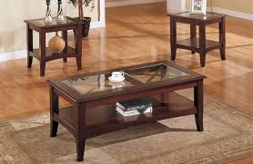 3 piece glass dark brown finish living room table set
