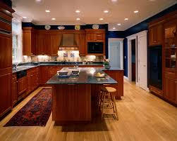 L Shaped Kitchen Island Traditional With Beige Backsplash Black Countertop