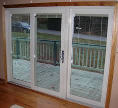 Patio Door Blinds Menards by Guardian Patio Door With Sliding Works System And White Shades