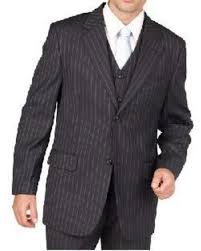 1930s Style Mens Suits Charcoal Gray Pinstripe 2 Button Vested 3 Piece Three Suit