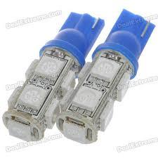 t10 2w 126 lumen 9 smd led car blue light bulbs pair dc 12v