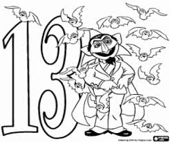 Count Dracula And Number Thirteen Teddy Bear Fourteen Coloring Page
