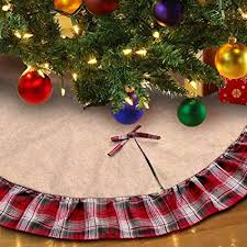Aytai 48inch Plaid Christmas Tree Skirts Red Black Ruffle Edge Linen Burlap Skirt Holiday