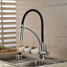 black and chrome finish kitchen sink faucet deck mount pull out