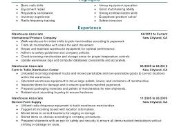 Resume Templates For Warehouse Worker Sample Template Position