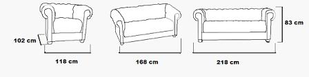 largeur canapé 3 places salon en cuir chesterfield livraison gratuite