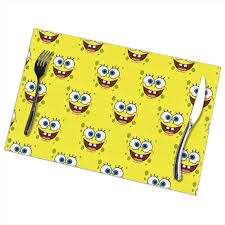 Amazon.com: LIUYAN Placemats Spongebob Face Placemat ... Spongebob Square Pants Camper Van 72 In X 126 Spongebob Pants Xl Chair Rail 7panel Prepasted Wall Mural Diy Pores Table Covers Nickelodeon Squarepants Toddler Bean Bag Chairs In The Krusty Krab Oleh Annisa 2019 House Bezaubernd Wooden Kids Table And Chairs Rentals Lif Childs Characters Spongebobs Room Paw Patrol Alex Toys Mrs Puffs Boating School Toy Alexbrandscom