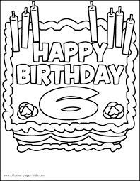 Birthday Cake Six Years Old Color Page Holiday Coloring Pages