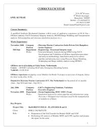 Mechanical Engineer Resume Sample India Engineering Internship