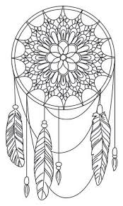 American Hippie Art Adult Coloring Page Dreamcatcher