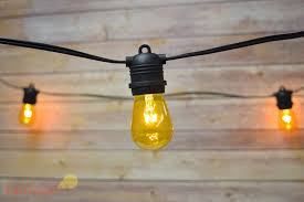 24 socket outdoor string light s14 yellow colored light bulbs 54ft
