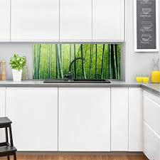 revetement mural cuisine bilderwelten crédence en verre bamboo forest panorama