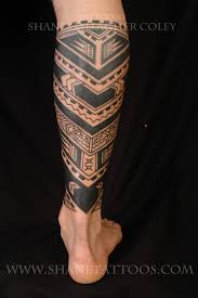 Fantastic Polynesian Tattoo Design Idea For Calf