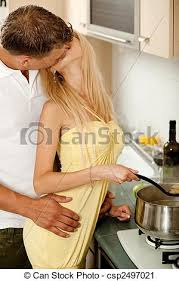 couples amour cuisine baisers amour cuisine photographie de stock rechercher