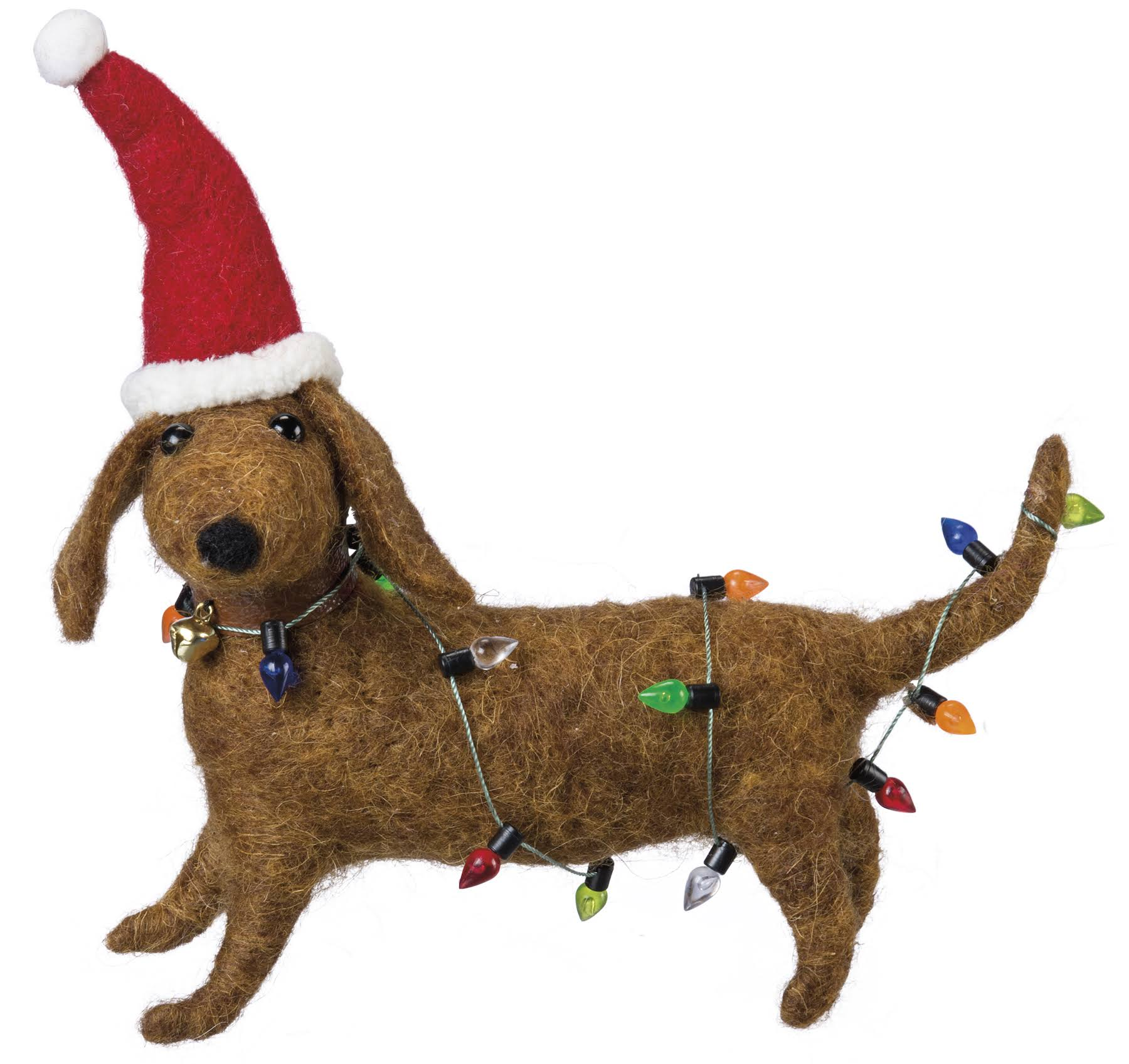 Dachshund Wearing Christmas Hat & Lights Figurine 6 inch from Primitives by Kathy