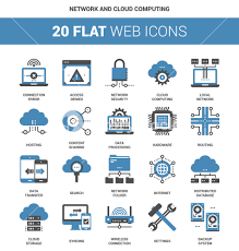 100 Flat Cloud Vector Set Of Network And Cloud Computing Flat Web Icons Each Icon