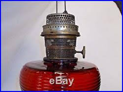 Aladdin Kerosene Lamp Model B by Nu Type Model B Burner Ruby Red Beehive Oil Kerosene Lamp Amberina