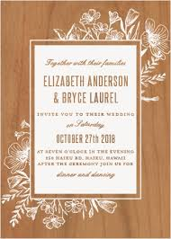 Floral Border Wood Wedding Invitations