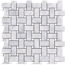 bianco honed 1x2 basketweave thassos dot mosaic tile