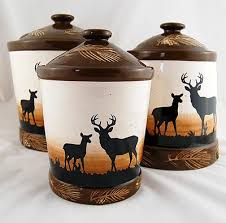 Features A High Temp Glaze With Deer Image And Raised Pine Cone Accents This Rustic Looking Canister Set Will Fit In Any Cabin Kitchen Decor