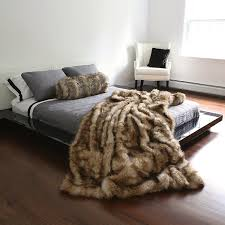 Best Home Fashion Faux Fur Throw Full Blanket Platinum Frost