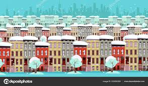100 Three Story Houses Winter Cityscape Panorama Rows Of Twostorey And Threestory