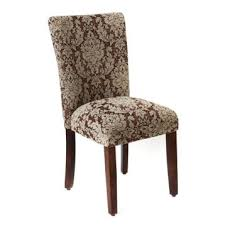 Brown Damask Parsons Chair Dining Table