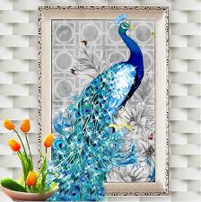 Peacock Wall Art Summer Living Room Ideas 3d Decor Painting By Number Rooms Diy
