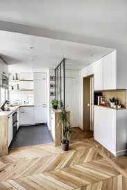 2offene küche trennen glas eingangstür parkettboden pflanzen