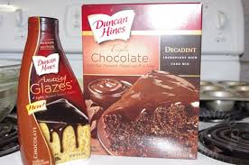 Duncan Hines Triple Chocolate Decadent Cake Mix and Chocolate