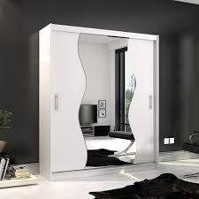 mirjan24 schiebetürenschrank kola x 180 kleiderschrank mit spiegel und schiebetüren stilvoll garderobenschrank ohne beleuchtung farbe weiß