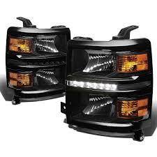 2014 15 chevy silverado 1500 led replacement headlights black