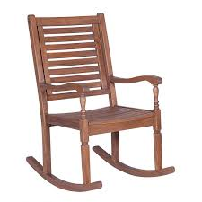 Dark Brown Acacia Wood Patio Rocking Chair