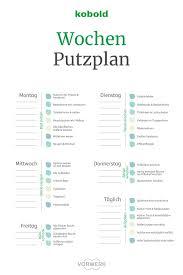 wochen putzplan kostenloser putzplan checkliste