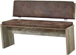 bonanza vintage sitzbank in driftwood optik bequeme retro sitzbank mit lehne für ihr wohn esszimmer 126 x 86 x 55 cm b h t
