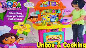 girls fun dora the explorer pretend play kitchen set toy unboxing