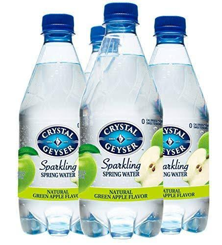 Crystal Geyser Spring Water, Natural Green Apple Flavor, Sparkling - 4 pack, 18 fl oz bottles