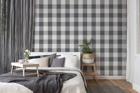 karierte tapete mit textil look in harmonischen farben weiß grau