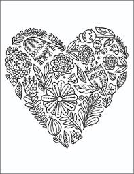 Valentines Day Coloring Page Floral Heart