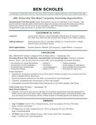 Sample Resume For A Film Industry Internship