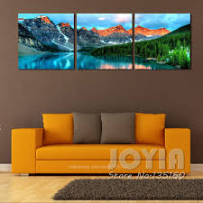 3 Panel Nature Scenery Wall Art Mountain Lake Landscape Painting Canvas Prints For Home Living Room Decor Large Quality No Frame In Calligraphy