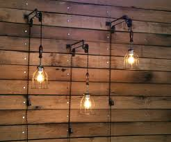 lights wall mount light fixture pulley with industrial cage and